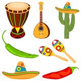 Colorful cartoon mexican music set vector illustration