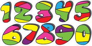 Colorful cartoon numbers set. Isolated on the white background Royalty Free Illustration