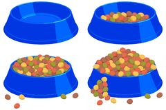 Colorful cartoon pet food bowl set. Various filling state. Cat dog care themed vector illustration for gift card, flyer, certificate banner, logo, patch Royalty Free Stock Photos