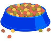 Colorful cartoon pet full food bowl. Colorful cartoon pet food full bowl. Cat dog care themed vector illustration for gift card, flyer, certificate banner, logo Royalty Free Stock Photography
