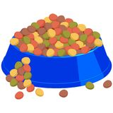 Colorful cartoon pet overfilled food bowl. Colorful cartoon pet food overfilled bowl. Cat dog care themed vector illustration for gift card, flyer, certificate Stock Image