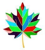 Colorful cartoon multicolor maple leaf royalty free illustration