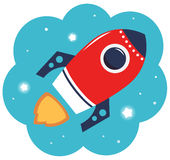 Colorful cartoon Rocket. Spaceship or Rocket in cloud. Vector Illustration Royalty Free Stock Photography