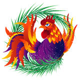 Colorful cartoon rooster with fir branch, symbol of 2017 year Royalty Free Stock Photos