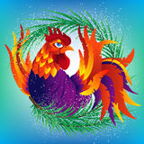 Colorful cartoon rooster with fir branch, symbol of 2017. Year by eastern calendar. Vector Illustration Royalty Free Stock Photo