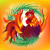 Colorful cartoon rooster with fir branch, symbol of 2017 year. By eastern calendar. Vector Illustration Stock Photo