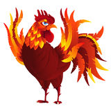Colorful cartoon rooster, symbol of 2017 year. By eastern calendar. Isolated on white. Vector Illustration Royalty Free Stock Images
