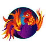 Colorful cartoon rooster, symbol of 2017 year. By eastern calendar. Isolated on white. Vector Illustration Royalty Free Stock Photography