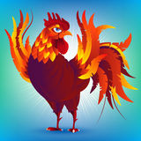 Colorful cartoon rooster, symbol of 2017 year  Stock Photo