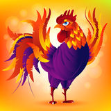 Colorful cartoon rooster, symbol of 2017 year by eastern. Calendar. Vector Illustration Stock Photography