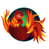 Colorful cartoon rooster, symbol of 2017 year. By eastern calendar.  on white. Vector Illustration Stock Images