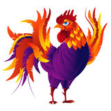 Colorful cartoon rooster, symbol of 2017 year. By eastern calendar.  on white. Vector Illustration Royalty Free Stock Images