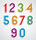 Colorful cartoon rounded numbers with white outline Royalty Free Stock Images