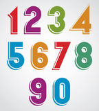 Colorful cartoon rounded numbers with white outline Stock Images