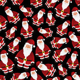 Colorful cartoon Santa Claus black seamless pattern Royalty Free Stock Images