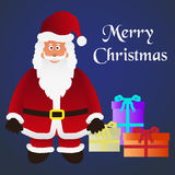 Colorful cartoon Santa Claus with red outfit and gifts eps10 Royalty Free Stock Photography