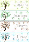 Colorful cartoon seasons trees Stock Image