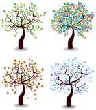 Colorful cartoon seasons trees. Modern colorful illustration with four season trees Stock Image