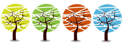 Colorful cartoon seasons trees Stock Photos