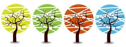 Colorful cartoon seasons trees Stock Photos