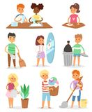 Kids vector cleaning rooms and helping their mums housework cartoon characters clean up illustration colorful set with vector illustration