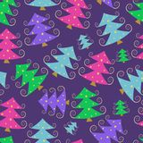 Colorful Cartoon Simple Christmas Tree Pattern Stock Images
