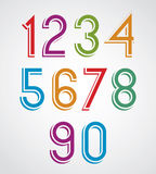 Colorful cartoon slim rounded numbers. Royalty Free Stock Image