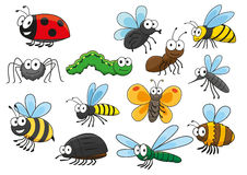 Colorful cartoon smiling insects characters Stock Photography