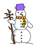 Colorful cartoon snowman. Standing colorful cartoon snowman with scarf and twig from a tree Royalty Free Stock Photo