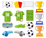 Colorful cartoon soccer 150elements set. Colorful cartoon soccer 15 elements set. Sport theme vector illustration for icon, sticker sign, patch, certificate Royalty Free Stock Photos