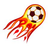 Colorful cartoon soccer fast ball flame. Sport theme vector illustration for icon, sticker sign, patch, certificate badge, gift card, stamp logo, label, poster Stock Photo
