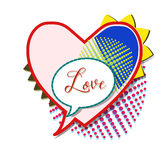 Colorful Cartoon Speech Bubble in the Shape of a Heart. Vector. Stock Photos