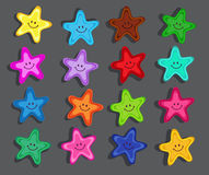Colorful cartoon starfish with funny faces. Stock Photos