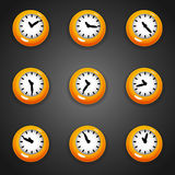 Colorful cartoon style clock timer for game with animated hands Royalty Free Stock Photography