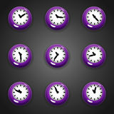 Colorful cartoon style clock timer for game with animated hands Stock Image