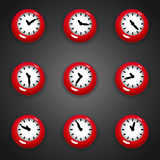 Colorful cartoon style clock timer for game with animated hands. Set of colorful cartoon style clock timer for game with animated hands Stock Images