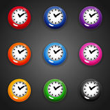 Colorful cartoon style clock timer for game. Set of colorful cartoon style clock timer for game Royalty Free Stock Photo