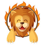 Colorful cartoon trained lion jumping through the fire ring. Circus magic show happy and cute lion character vector illustration. Colorful cartoon trained lion Stock Photography