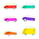 Colorful cartoon travel bus collection. Royalty Free Stock Photos