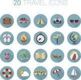 Colorful cartoon travel icon set in circles. Vector Stock Images