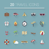 Colorful cartoon travel icon set. Vector Royalty Free Stock Photography