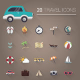 Colorful cartoon travel icon set. Vector Stock Photography