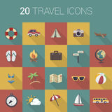 Colorful cartoon travel icon set. Vector Royalty Free Stock Photos