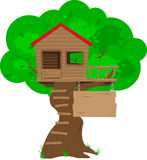 Colorful Cartoon Tree House. A colorful cartoon tree house with a blank sign space for copy. All objects in the illustration (ladder, tree, sign, etc) are Stock Photo