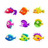 Colorful Cartoon Tropical Fish Collection. Of Bright Color Vector Icons Isolated On White Background. Cute Childish Fantastic Animal Characters Design Stock Image