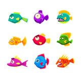 Colorful Cartoon Tropical Fish Set. Colorful Tropical Fish Set Of Bright Color Vector Icons Isolated On White Background Design Stock Photography