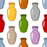 Colorful Cartoon Vase Seamless Pattern Stock Images