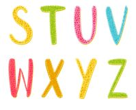 Colorful Cartoon Vector Letters With Texture Royalty Free Stock Images