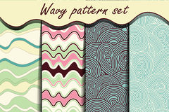 Colorful cartoon waves seamless pattern set. Royalty Free Stock Images