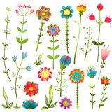 Colorful Cartoon Wild Flowers Isolated Collection Stock Photo